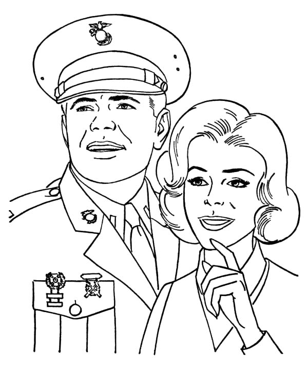 Army, : Army with His Wife Coloring Pages