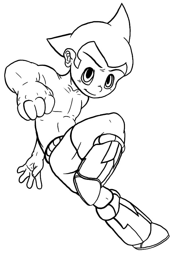 Astro Boy, : Astro Boy Lands Coloring Pages
