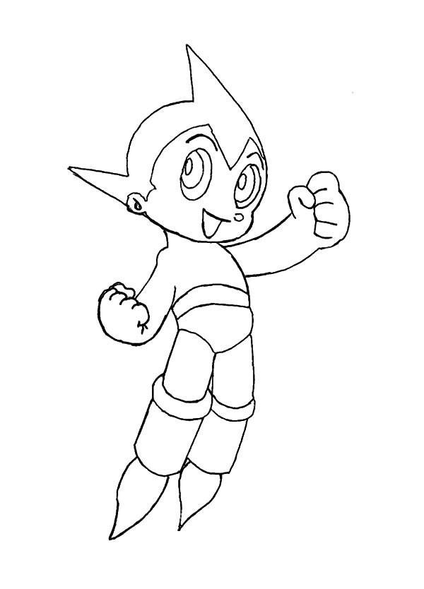 Astro Boy, : Astro Boy Smiling Coloring Pages