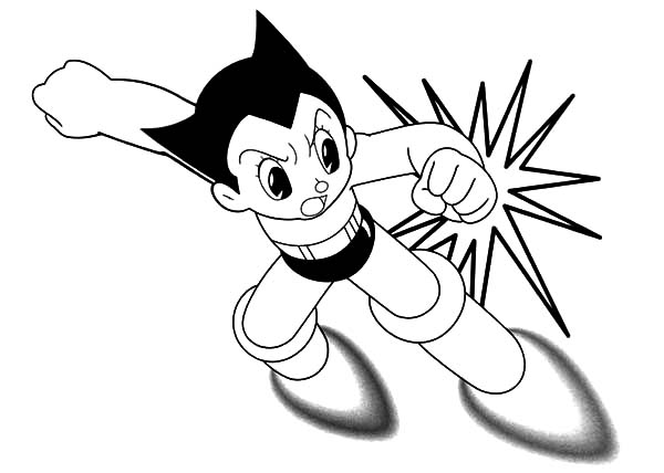 Astro Boy, : Astro Boy Strong Punch Coloring Pages