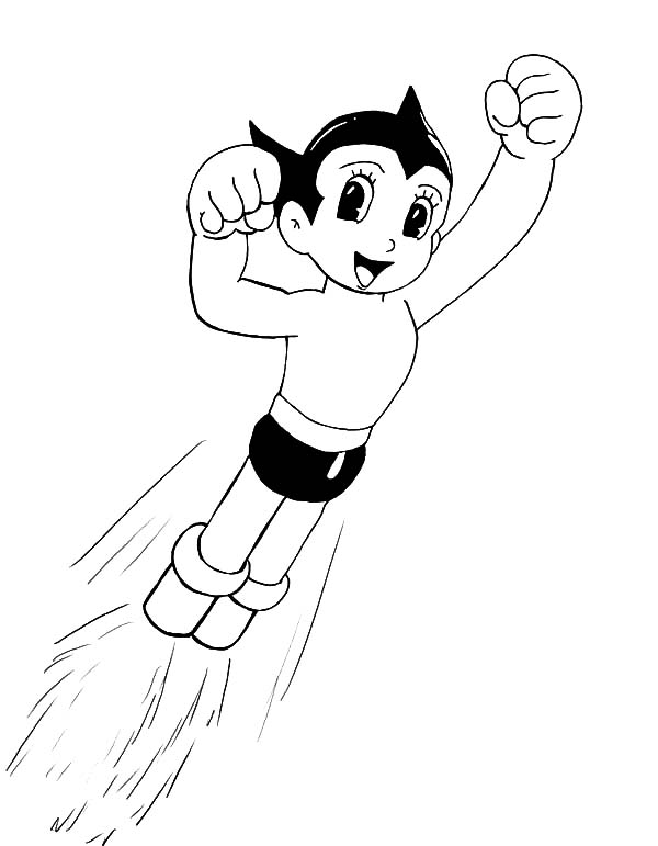 Astro Boy, : Astro Boy Winning Pose Coloring Pages