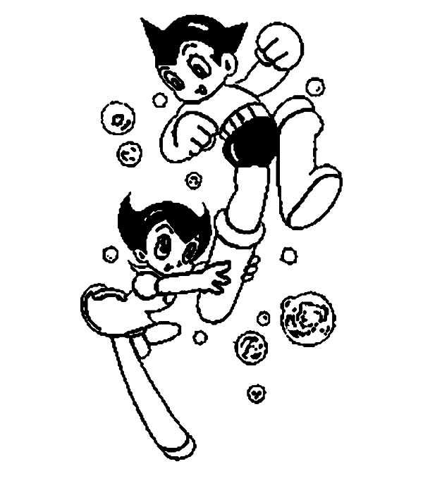Astro Boy, : Astro Boy and Astro Girl Coloring Pages