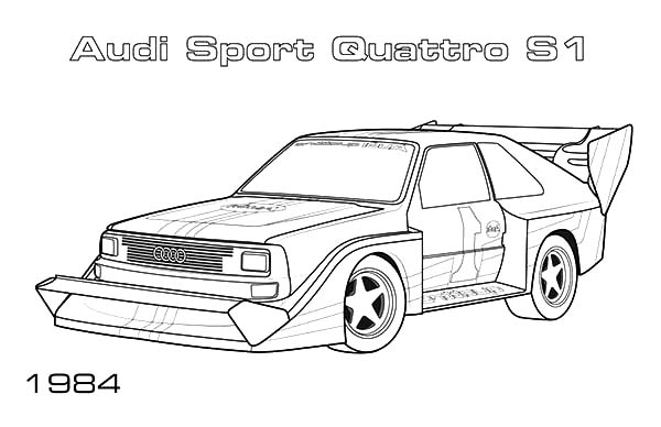 Audi Cars, : Audi Cars Quattro S1 Coloring Pages