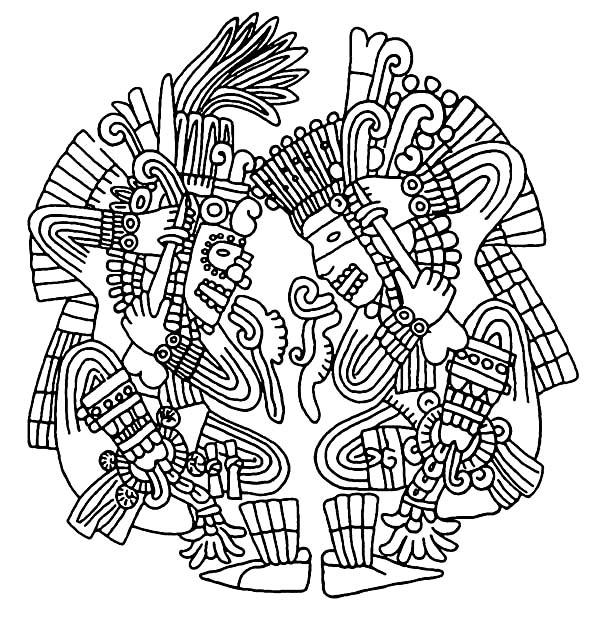 Aztec, : Aztec Bloodletting Coloring Pages