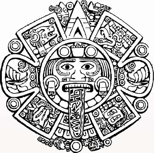 Aztec, : Aztec Calendar Stone Coloring Pages