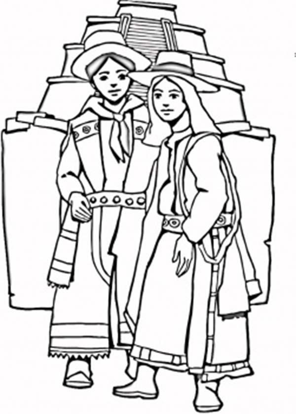 Aztec, : Aztec Couple Coloring Pages