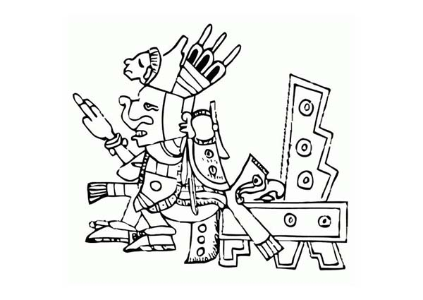 Aztec, : Aztec Emperor Sitting on Throne Coloring Pages