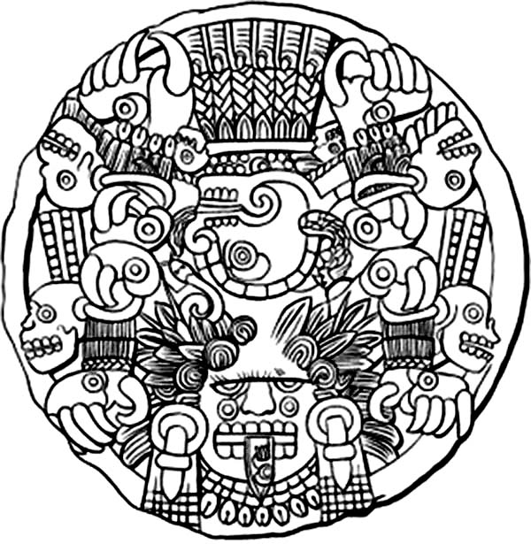 Aztec, : Aztec God of Death Coloring Pages