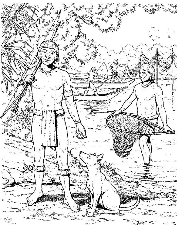 Aztec, : Aztec People Fishing Coloring Pages
