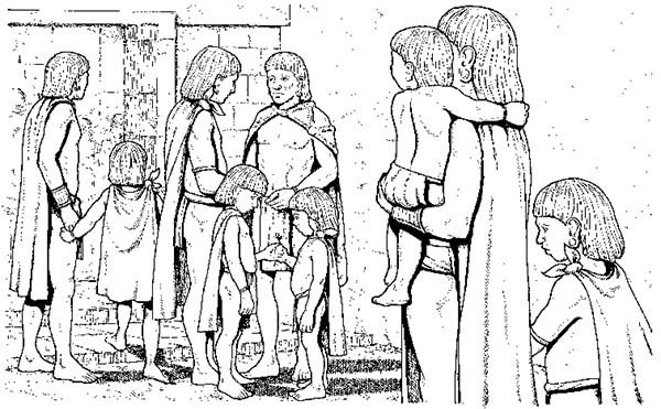 Aztec, : Aztec People Living in Harmony Coloring Pages