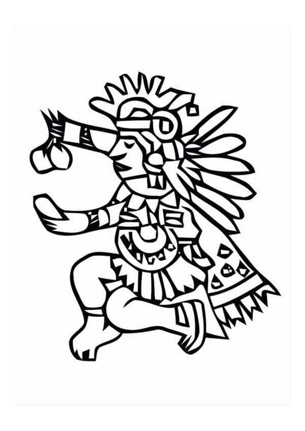 Aztec, : Aztec Ritual Giving Food for Their God Coloring Pages