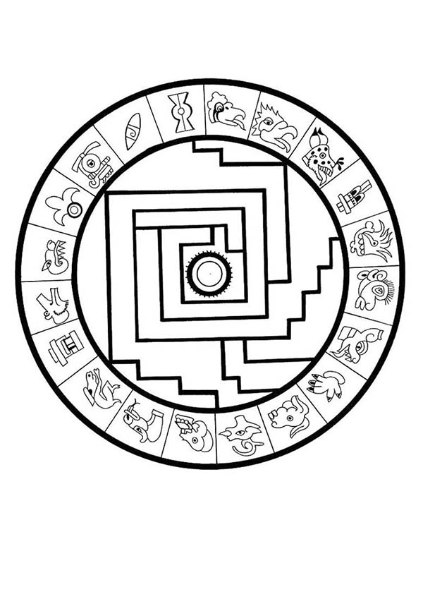 Aztec, : Aztec Sophisticated Calendar Stone Coloring Pages