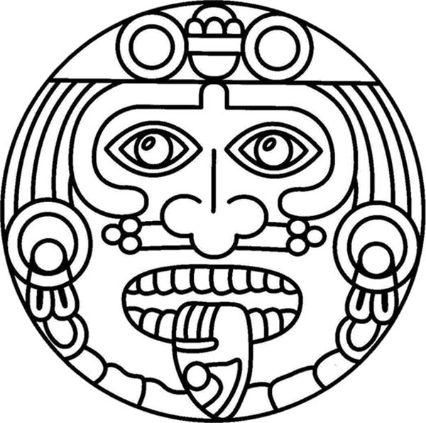 Aztec, : Aztec Symbol of God Coloring Pages