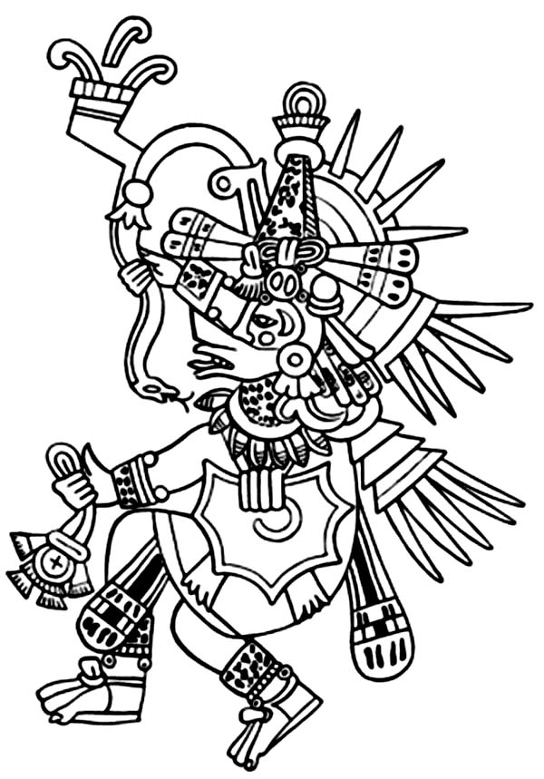 Aztec, : Aztec Tlaloc Coloring Pages