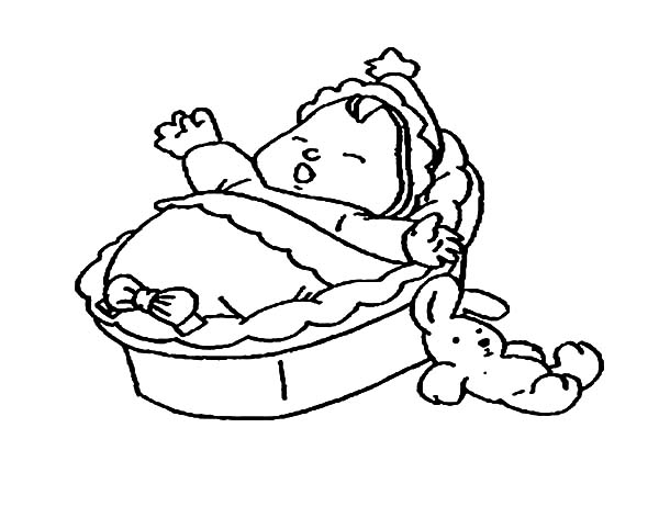 Babies, : Babies Bassinet Coloring Pages