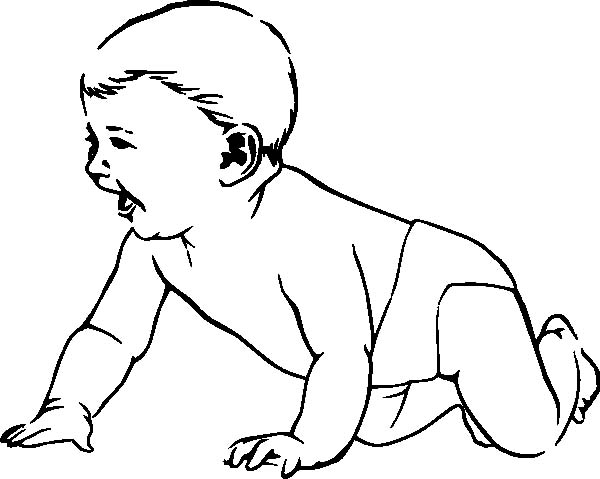 Babies, : Babies Laughing while Crawling Coloring Pages