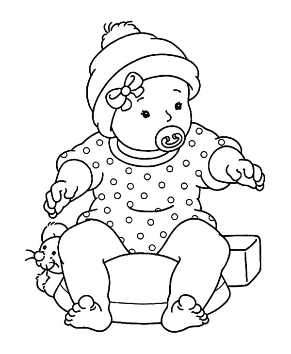 Babies, : Babies Learn to Sit Coloring Pages