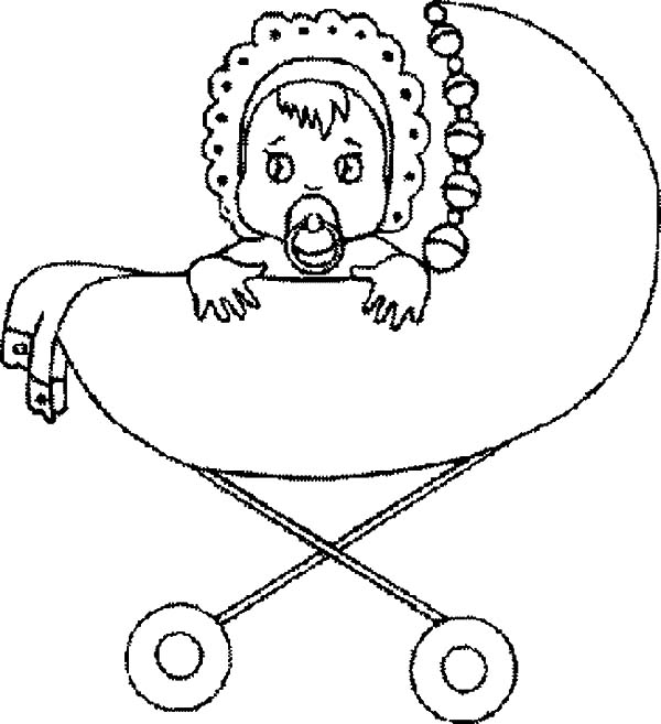 Babies, : Babies Sad Eyes in Stroller Coloring Pages