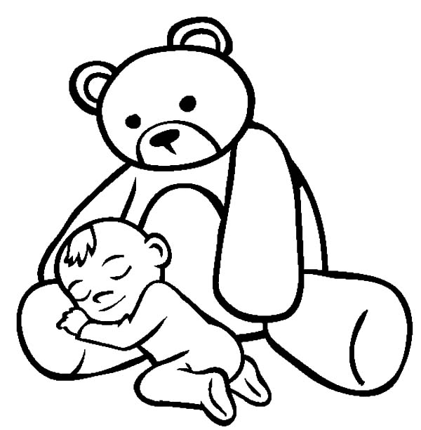 Babies, : Babies Sleeping on Teddy Bears Lap Coloring Pages