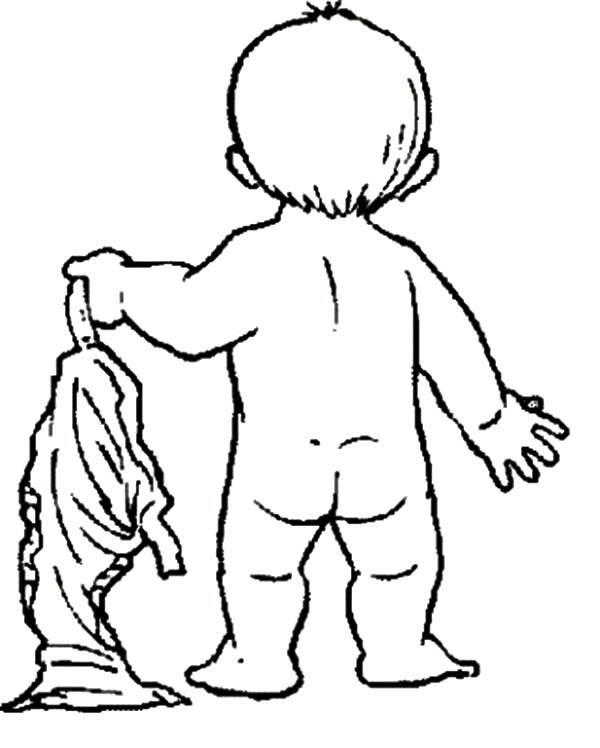 Babies, : Babies Take Off His Pants Coloring Pages
