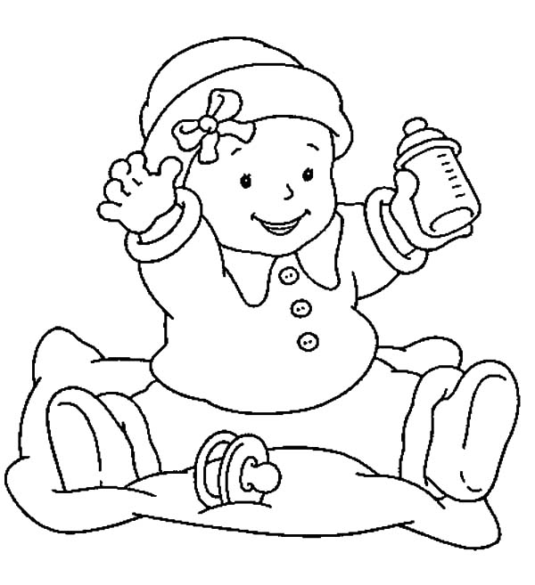 Babies, : Babies Want Some More Milk Coloring Pages