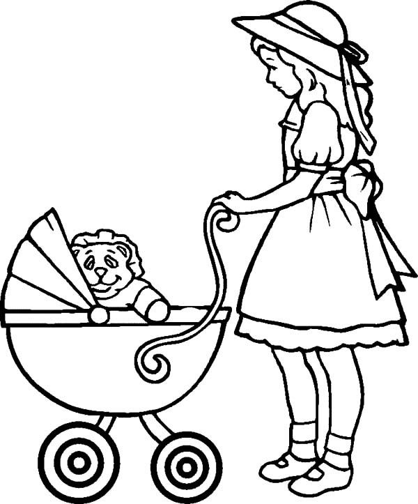 Babies, : Babies in Stroller Coloring Pages