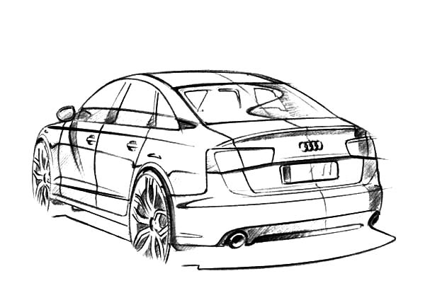 Audi Cars, : Backside View of Audi Cars Coloring Pages