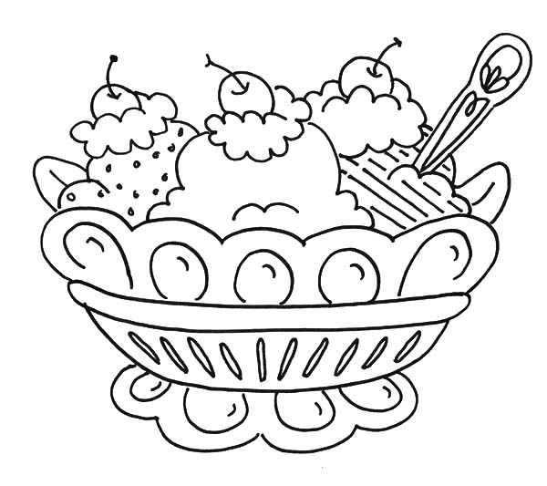 Ice Cream, : Banana Split and Ice Cream Coloring Pages