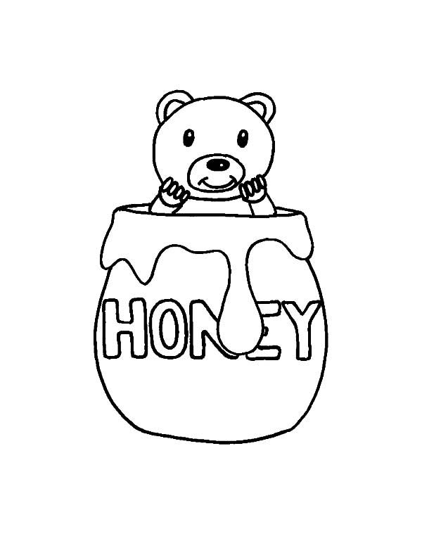 Jar, : Bear in Honey Jar Coloring Pages