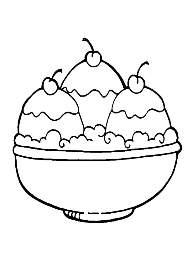 Ice Cream, : Big Bowl Three Scoop of Ice Cream Coloring Pages