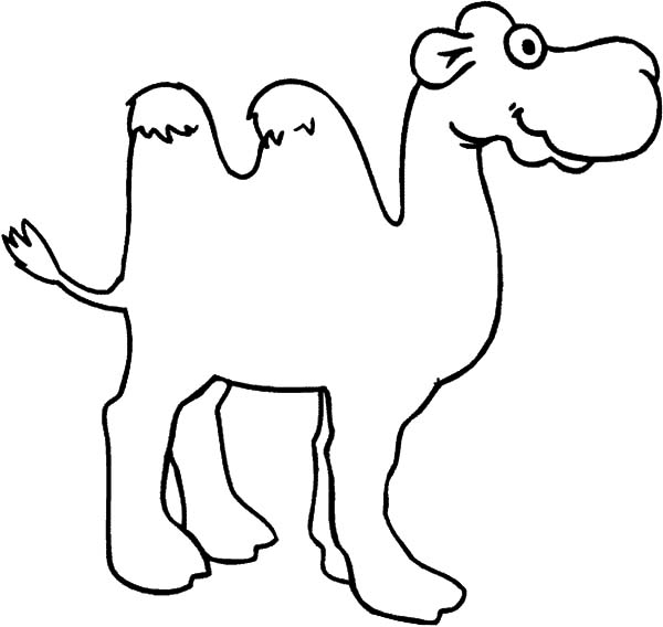 Bactria Camel, : Big Eyed Bactria Camel Coloring Pages