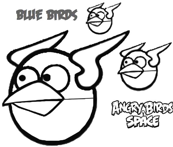 Angry Bird Space, : Blue Birds Angry Bird Space Coloring Pages