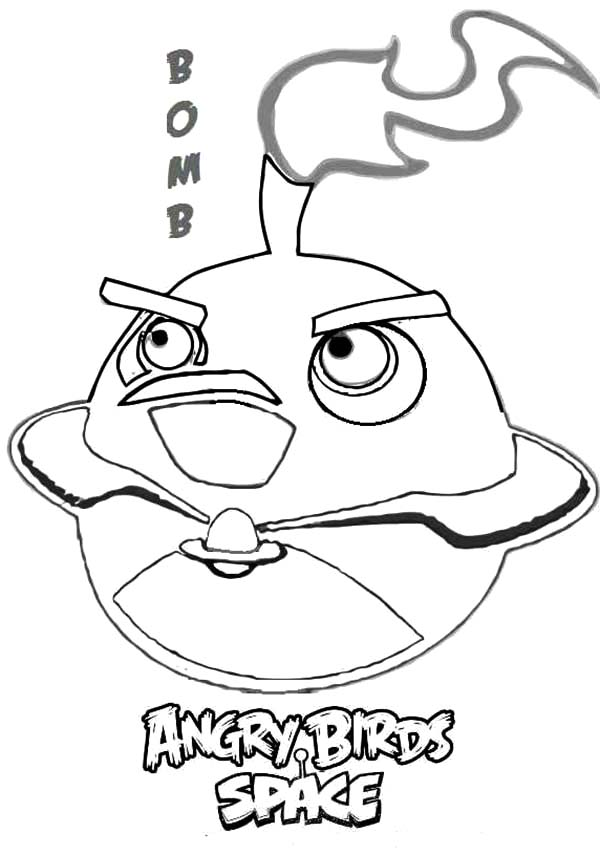 Angry Bird Space, : Bomb Bird Angry Bird Space Coloring Pages
