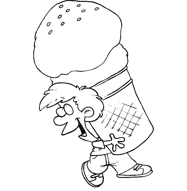 Ice Cream Cone, : Boy Carrying a Giant Ice Cream Cone Coloring Pages