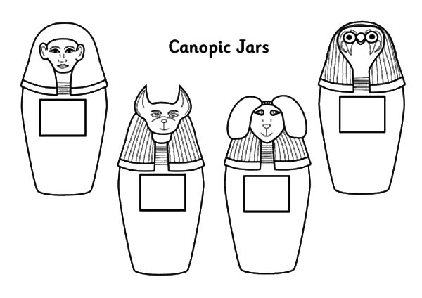 Jar, : Canopic Jar Coloring Pages