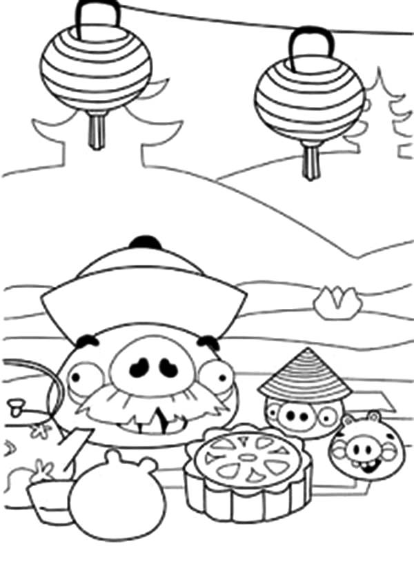 Angry Bird Pigs, : Chinese New Year Angry Bird Pigs Coloring Pages