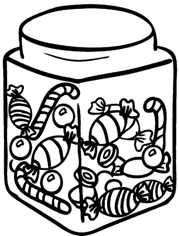 Jar, : Cotton Candy in Jar Coloring Pages