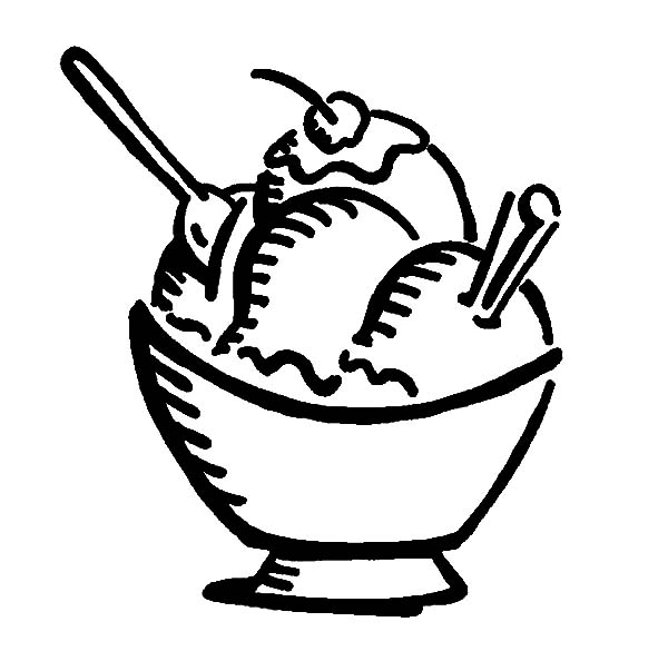 Ice Cream, : Delicious Ice Cream with Cherry on Top Coloring Pages