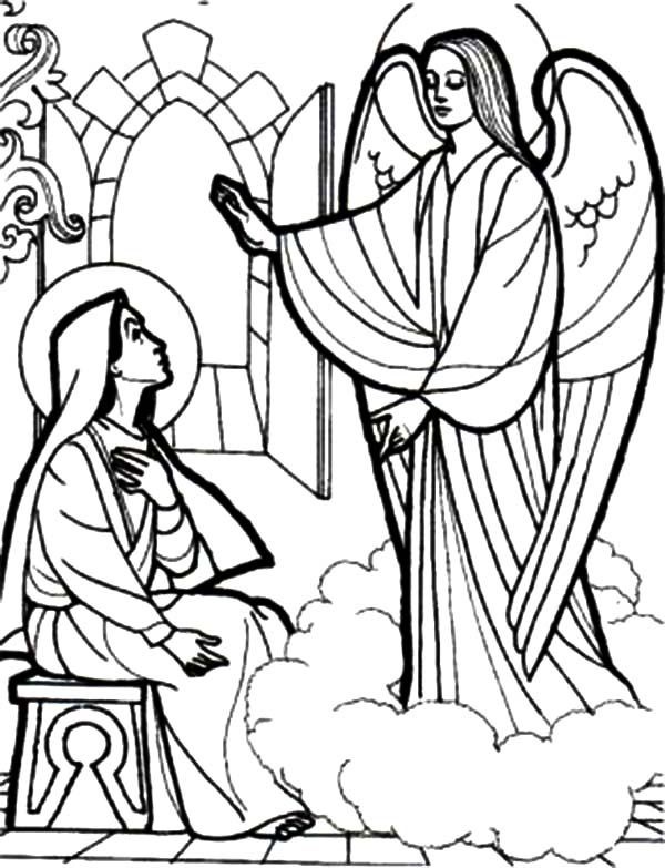 Angel Appears To Mary, : Depiction of an Angel Appears to Mary Coloring Pages