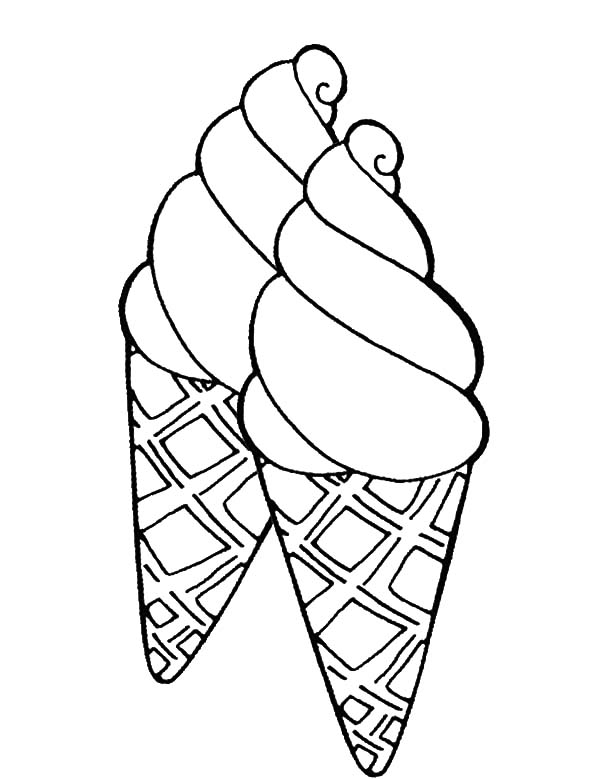Ice Cream Cone, : Double Sweet Ice Cream Cone Coloring Pages