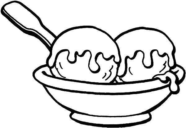 Ice Cream, : Drawing a Bowl of Ice Cream Coloring Pages