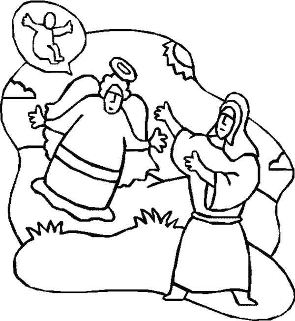 Angel Appears To Mary, : Drawing an Angel Appears to Mary Coloring Pages