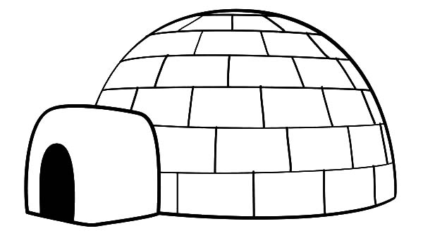 Igloo, : Drawing an Igloo Coloring Pages