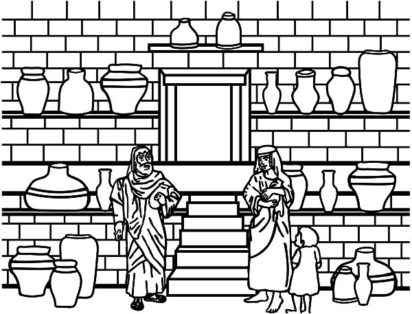 Jar, : Elisha and the Jar of Oil Coloring Pages