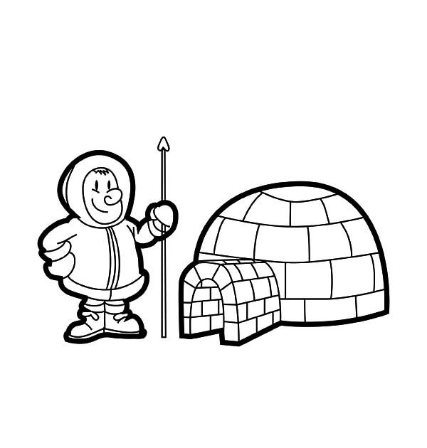 Igloo, : Eskimo Live in Igloo Coloring Pages