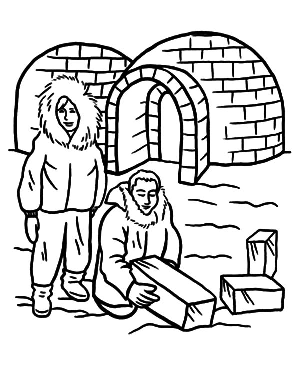 Igloo, : Eskimo People Building an Igloo Coloring Pages