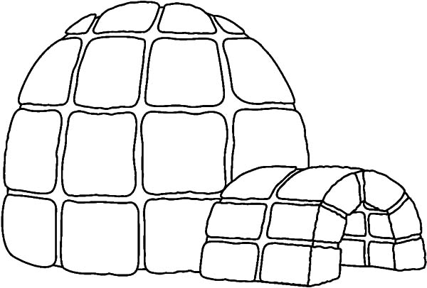 Igloo, : Hide from Snow in Igloo Coloring Pages