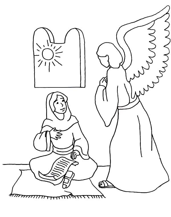 Angel Appears To Mary, : How to Draw an Angel Appears to Mary Coloring Pages