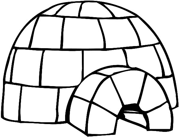Igloo, : How to Draw an Igloo Coloring Pages