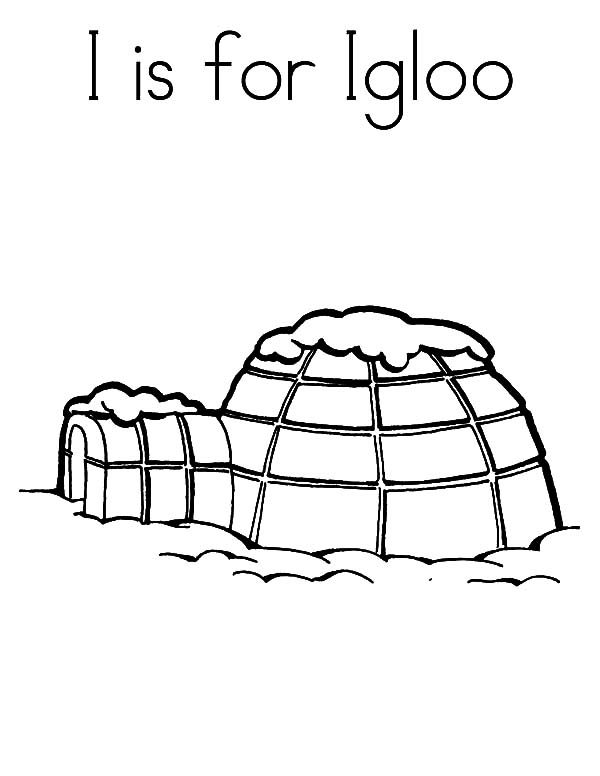 Igloo, : I is for Igloo Coloring Pages